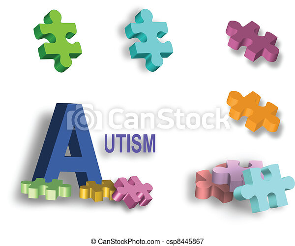 Page of bright autism puzzle pieces - csp8445867