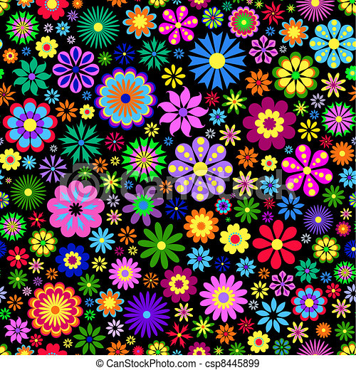 colorful flower on black background - csp8445899