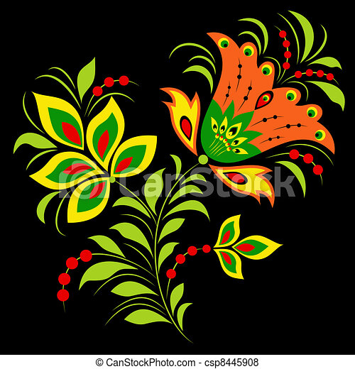 colorful flower on black background - csp8445908