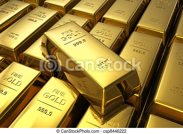 Rows of gold bars - csp8446222