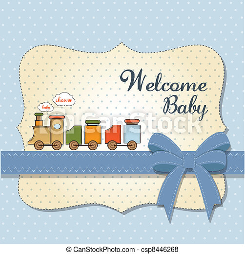 baby shower card with toy train - csp8446268