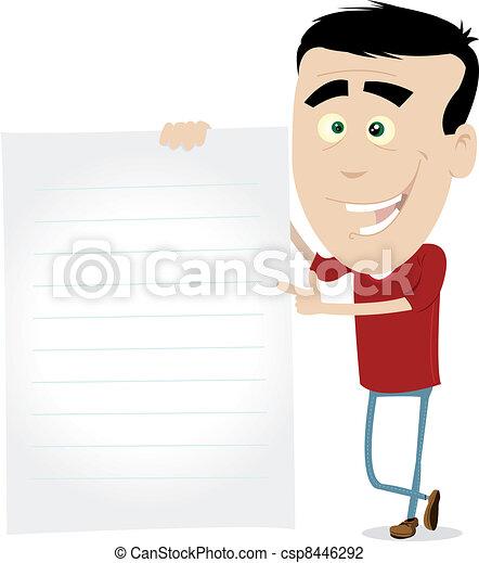 Cartoon Young Man Sign - csp8446292