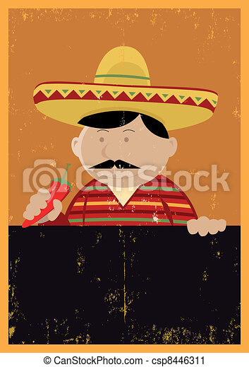 Grunge Mexican Chef Cook Menu - csp8446311