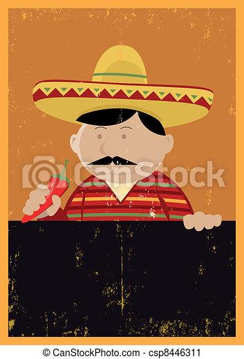 Grunge Mexican Chef Cook Menu - csp8446311