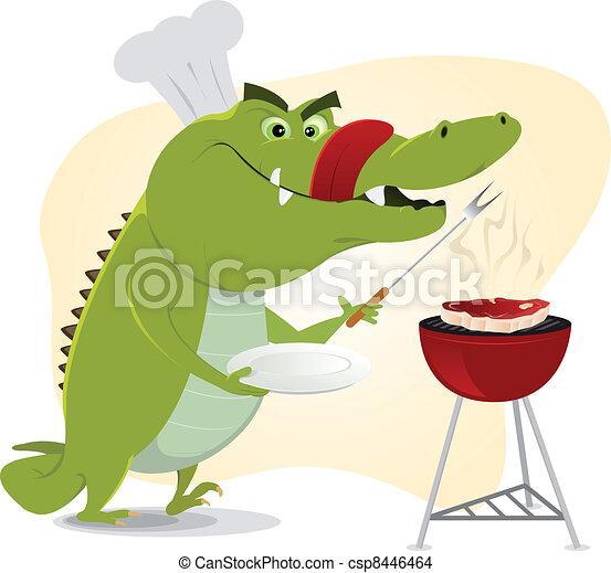 Cartoon Crocodile BBQ - csp8446464