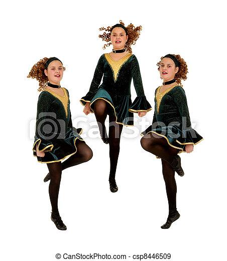 Irish Dancers Trio Performing - csp8446509
