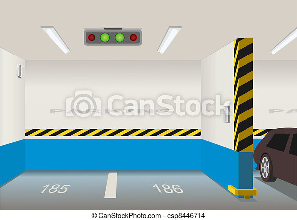 Empty parking lot area. Vector illustration - csp8446714