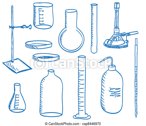Science laboratory equipment  - doodle style - csp8446970
