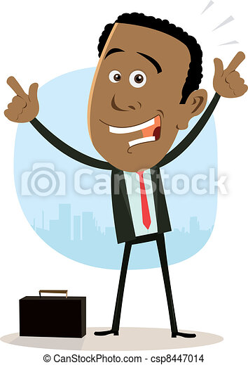 Cool Happy African Businessman - csp8447014