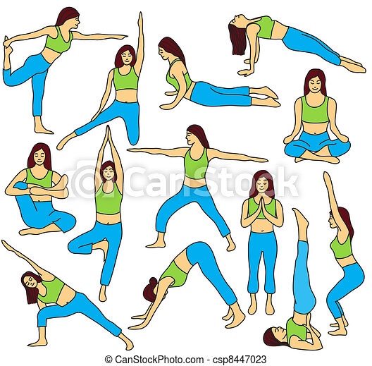 Yoga poses collection - colored vector illustration - csp8447023