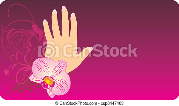 French manicure and orchid - csp8447403