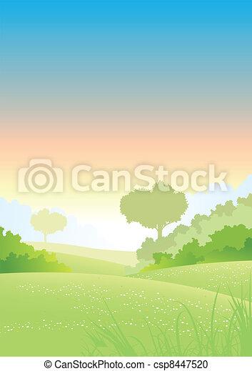 Summer Or Spring Morning Seasons Poster - csp8447520