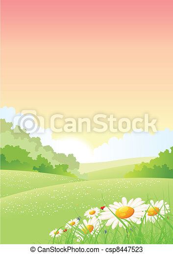 Summer Or Spring Morning Seasons Poster - csp8447523