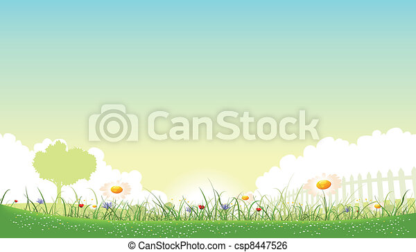 Illustration of a beautiful garden of flowers landscape with daisy, poppies and cornflowers in spring or summer seasons - csp8447526