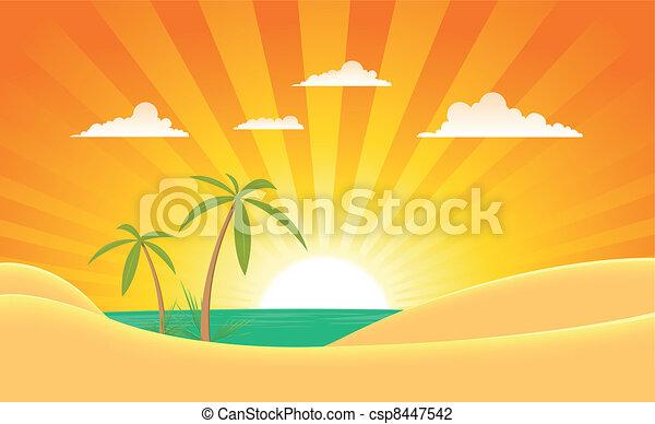 Summer Ocean Landscape Banner - csp8447542