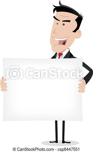 White Businessman Holding Advertising Message - csp8447551