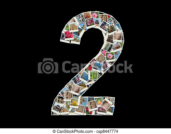 Stock Photo of NUmber 2 made like collage of photo - Shape of 2 figure ...