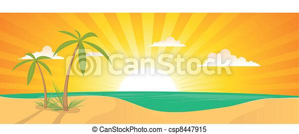 Summer Exotic Beach Landscape Banner - csp8447915