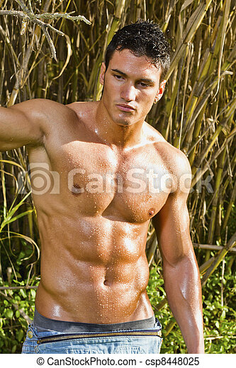 male model with muscles on the countryside - csp8448025