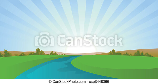 Cartoon River Landscape - csp8448366