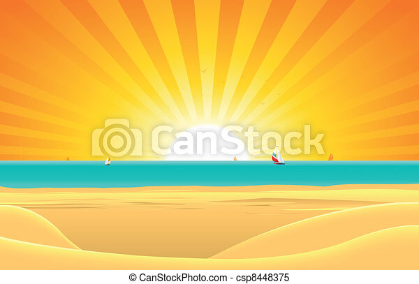 Summer Beach With Sailboat Postcard Background - csp8448375