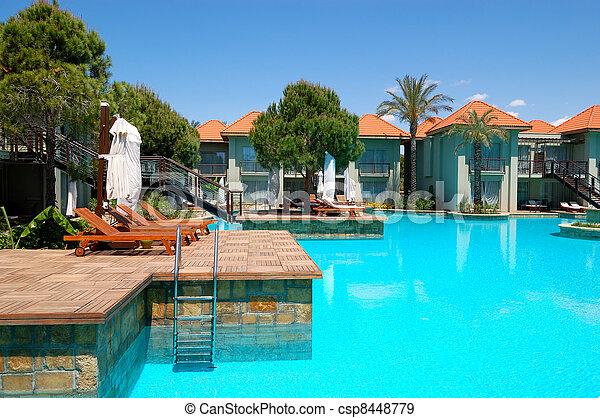 Luxury villas and swimming pool at popular hotel, Antalya, Turkey