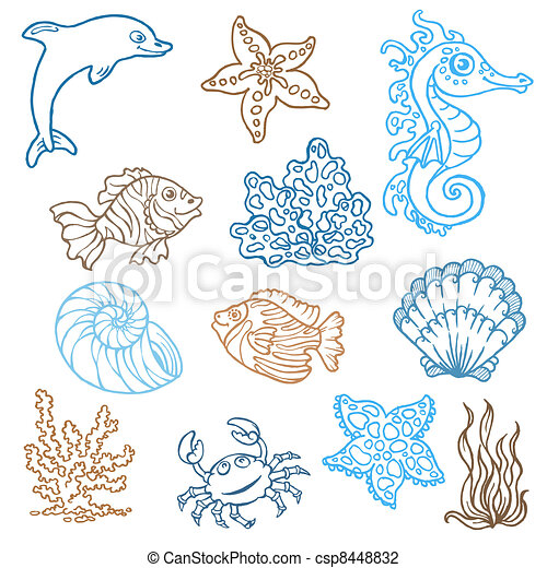 Marine life doodles - Hand drawn collection in vector - csp8448832
