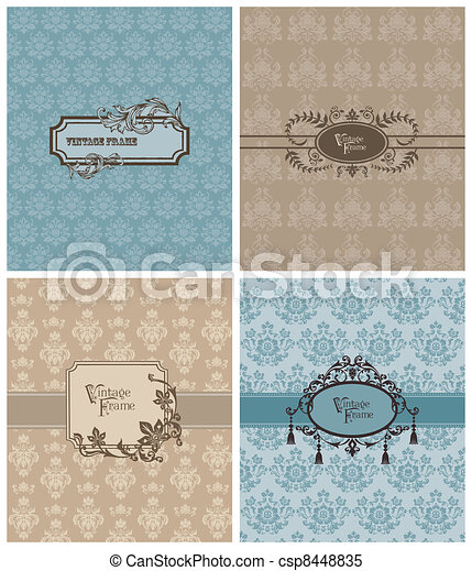 Set of Beautiful Retro Cards - for invitation, greetings, wedding in vector - csp8448835