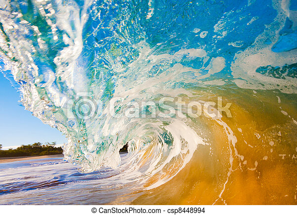 Breaking Ocean Wave Crashing over Camera - csp8448994