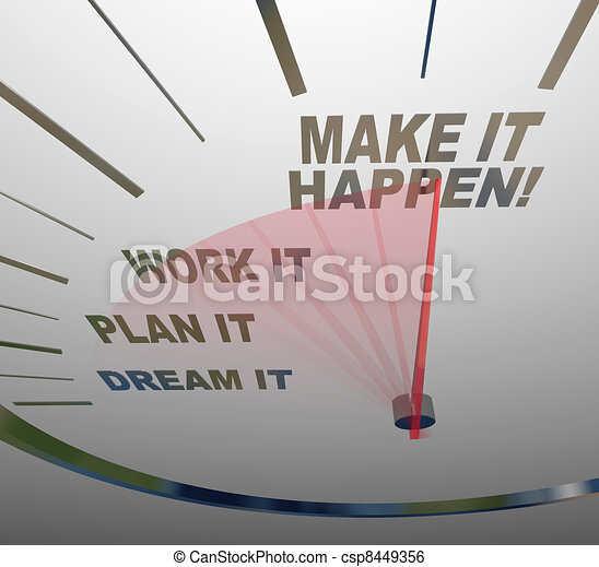 Make it Happen Speedometer Dream Plan Work Achieve Gaol - csp8449356