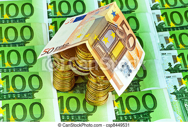 house from € coins from money - csp8449531