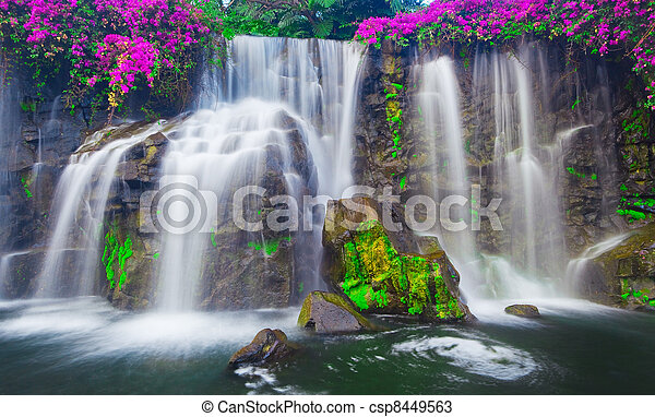 Waterfall in Hawaii - csp8449563