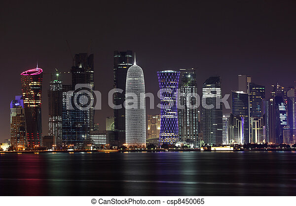 Doha skyline at night, Qatar, Middle East - csp8450065