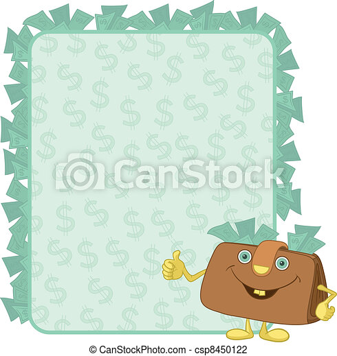 Purse and poster with dollars - csp8450122