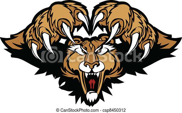 Cougar Puma Mascot Pouncing Graphic - csp8450312