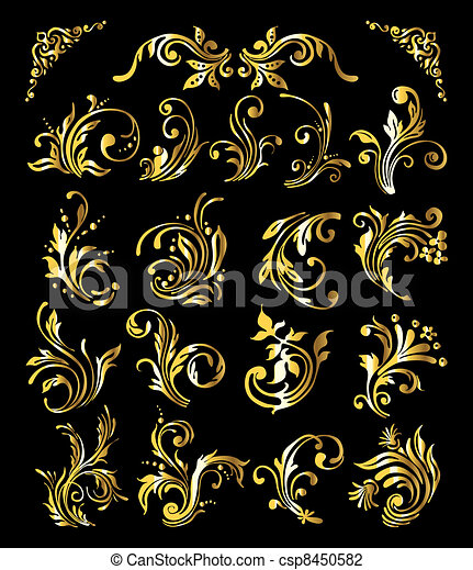 Floral Ornament Set of Vintage Golden Decoration Elements - csp8450582