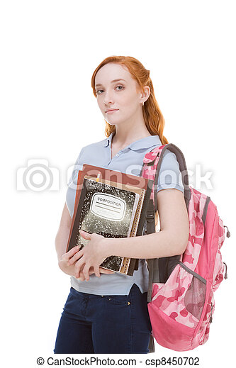 Caucasian college student with backpack copybooks - csp8450702
