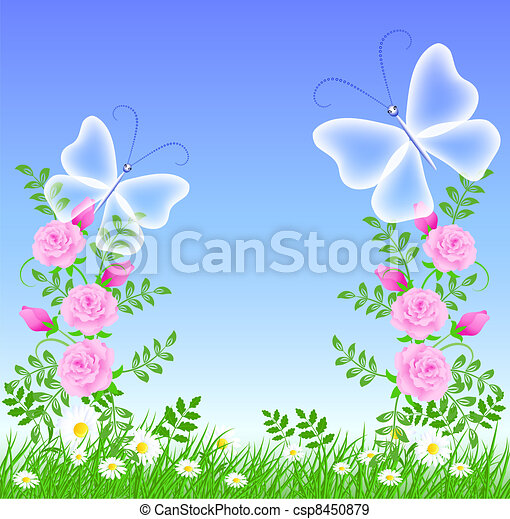 Roses and butterflies - csp8450879