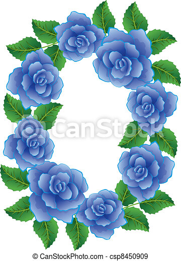 Eps vectors of vector frame made of blue roses with leaves for How are blue roses made