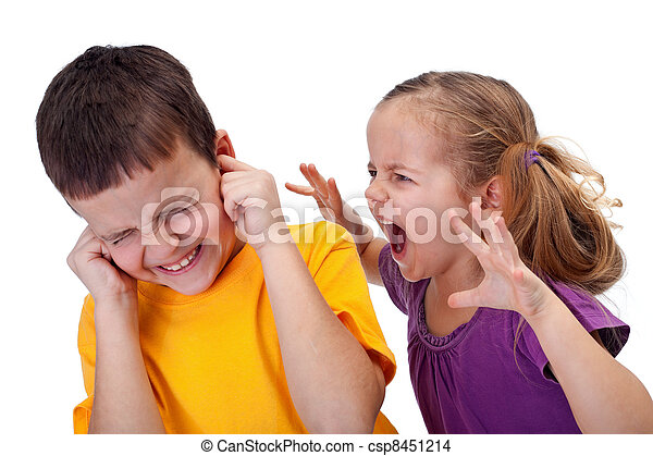 Kids quarrel - little girl shouting in anger - csp8451214