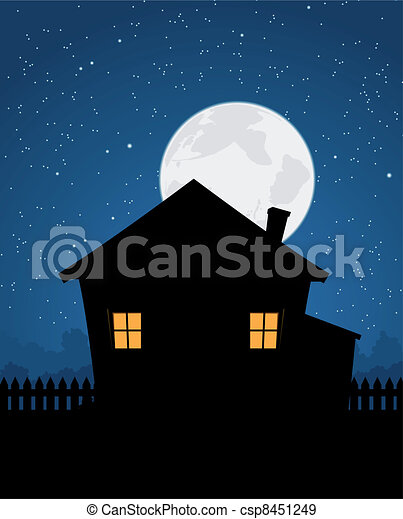 House Silhouette In Starry Night - csp8451249