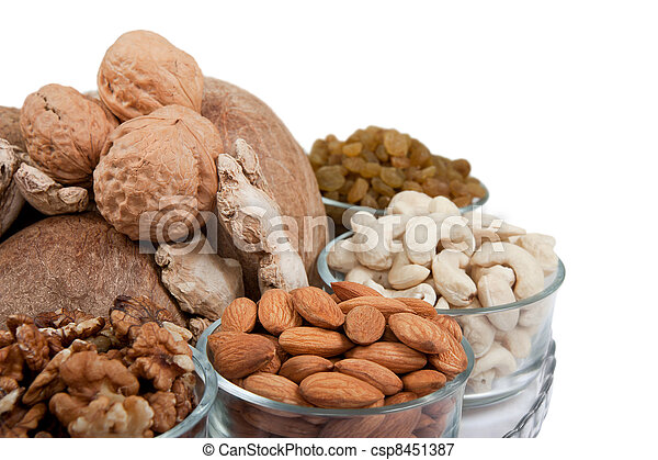 Mixed dry fruits in glas bowl - csp8451387