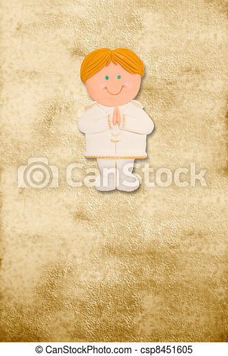 vertical card first communion, funny blond boy