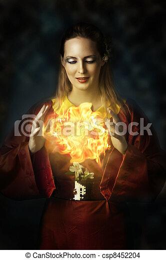 portrait of yong beautiful woman - fairy - csp8452204