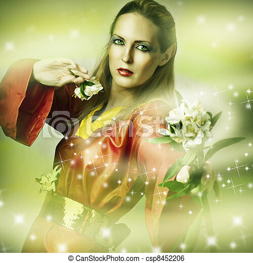 Fashion fantasy portrait of magic woman - csp8452206