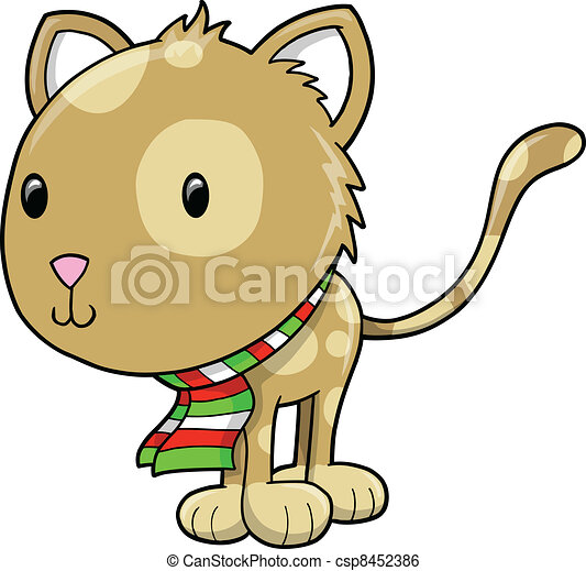 Cute Holiday Cat Kitten Vector  - csp8452386