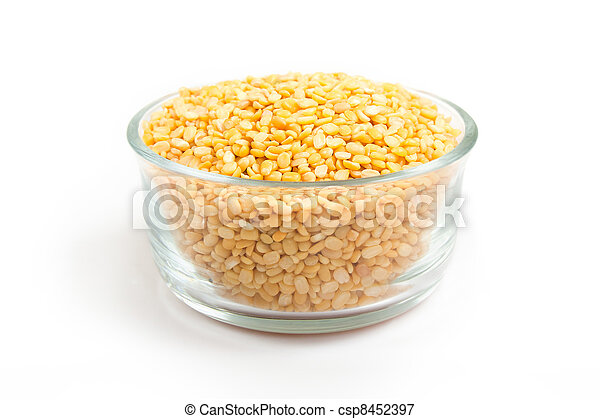 Dried uncooked mung or moong daal - csp8452397