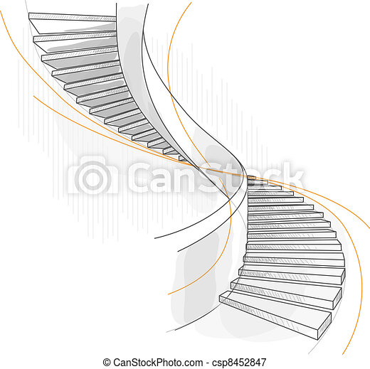Sketch of a spiral staircase. - csp8452847