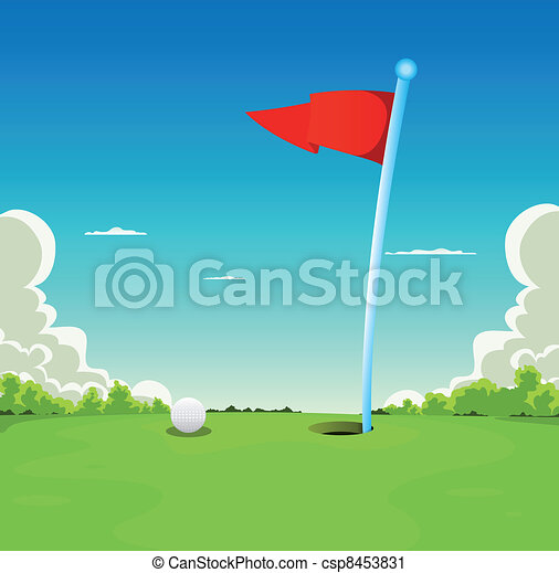 Putting Green - Golf Ball And Flag - csp8453831