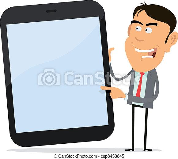 vecteur clipart de homme affaires projection tablette pc illustration de csp8453845. Black Bedroom Furniture Sets. Home Design Ideas